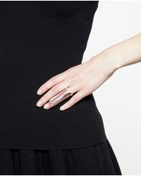 Bijules - Metallic Silver Isis Ring With Peeking Pearls - Lyst