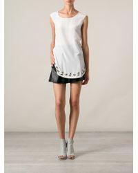 Pinko - White Embellished Hem Blouse - Lyst