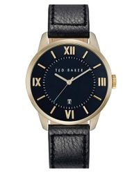 Ted Baker | Black Round Leather Strap Watch for Men | Lyst
