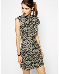ASOS - Black Skater Dress In Animal Jacquard With Bow Front - Lyst