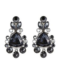 Givenchy | Black Hematite-Tone & Blue Drop Earrings | Lyst