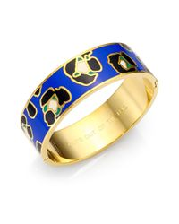 kate spade new york - Blue Cat'S Out Of The Bag Enamel Idiom Bangle Bracelet - Lyst