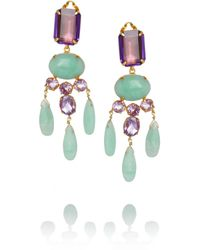 Bounkit | Metallic Goldplated Amethyst and Amazonite Clip Earrings | Lyst