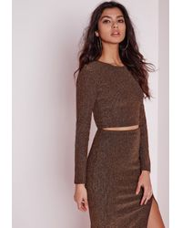 Missguided - Brown Ribbed Metallic Crop Top Bronze - Lyst
