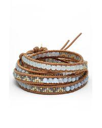 Chan Luu - Blue Beaded Leather Wrap Bracelet - Periwinkle Mix - Lyst