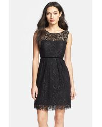 Jenny Yoo | Black 'harlow' Metallic Lace Sheath Dress | Lyst