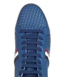 Moncler | Blue Mont Charles Leather High-Tops for Men | Lyst