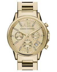 Armani Exchange | Metallic Crystal Marker Chronograph Bracelet Watch | Lyst