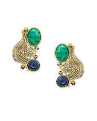 House of Harlow 1960 | Green Stone And Feather Clustered Earrings | Lyst