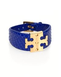 Tory Burch | Blue Logohinge Leather Bracelet | Lyst