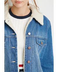 Forever 21 - Blue Faux Shearling Denim Jacket - Lyst