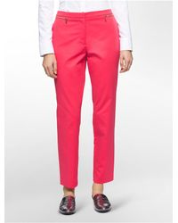 Calvin Klein | Pink Straight Fit Zip Detail Ankle Pants | Lyst