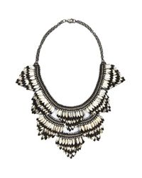 Deepa Gurnani | Metallic Feather Bib Necklace, Silver | Lyst