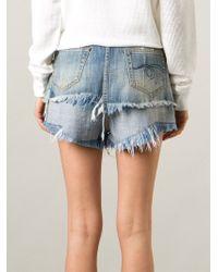 R13 - Blue Layered Denim Shorts - Lyst