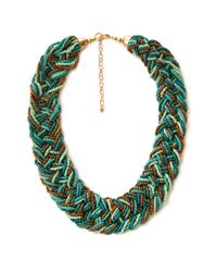 Forever 21 - Blue Eclectic Braided Bead Necklace - Lyst