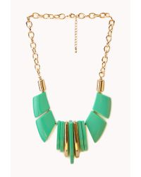 Forever 21 - Green Posh Chunky Bib Necklace - Lyst