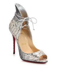 Christian Louboutin - Gray Megavamp Python-Embossed Leather Pumps - Lyst