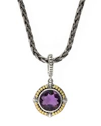 Effy | Purple Sterling Silver 18k Yellow Gold And Amethyst Pendant Necklace | Lyst