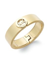Michael Kors   Metallic Rose Goldtone Logo Cuff Bracelet   Lyst