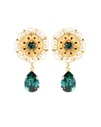 Dolce & Gabbana - Green Crystal-embellished Clip-on Earrings - Lyst