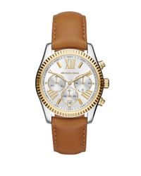 Michael Kors | Brown Lexington Two-tone Stainless Steel Leather Strap Chronograph | Lyst