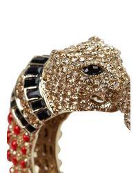 Roberto Cavalli - Metallic Gold Plated Swarovski Panther Bangle - Lyst