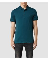 AllSaints - Blue Alter Polo for Men - Lyst