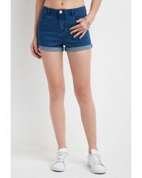 Forever 21 | Blue Cuffed Denim Shorts | Lyst