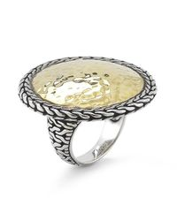 John Hardy | Metallic Pre-owned Sterling Silver and 22k Yellow Gold Hammered Large Round Ring | Lyst