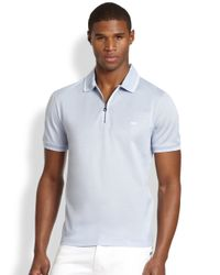 Ferragamo - Blue Zip Cotton Polo Tee for Men - Lyst