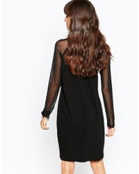 Just Female - Black Own Dress With Sheer Insert - Lyst