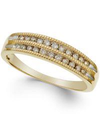 Macy's | Metallic Diamond Two-row Milgrain Band (1/5 Ct. T.w.) In 10k Yellow Gold | Lyst