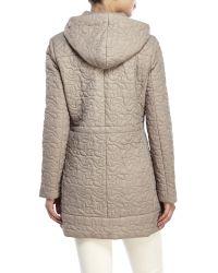 T Tahari - Natural Hooded Puffer Coat - Lyst