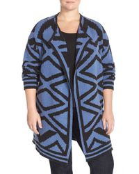 NIC+ZOE - Blue 'mirrored Angles' Open Front Knit Jacket - Lyst