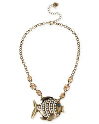 Betsey Johnson - Metallic Brass-Tone Fish Frontal Necklace - Lyst