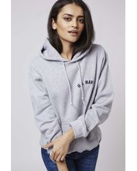 TOPSHOP - Gray Us Navy Hoodie By Tee And Cake - Lyst