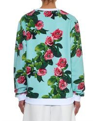 MSGM - Blue Rose-Print Cotton-Jersey Sweatshirt - Lyst