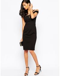 Forever Unique - Krista Midi Bandage Dress With Ring Detail - Black - Lyst