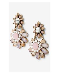 Express - Pink Mixed Stone Flower Post Dangling Earrings - Lyst