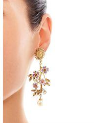 Dolce & Gabbana | Metallic Blossom Flower and Pearl Earrings | Lyst