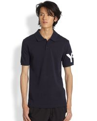 Y-3 - Blue Classic Cotton Polo for Men - Lyst