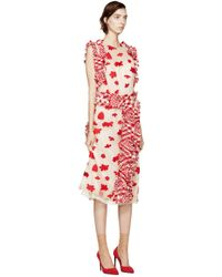 Simone Rocha - Natural Beige And Red Tulle Dress - Lyst