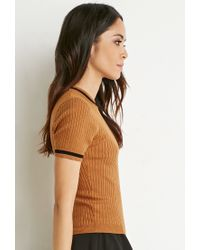 Forever 21 | Brown Striped-trim Ribbed Top | Lyst