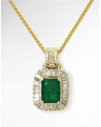 Effy | Green Emerald Diamond And 14k Yellow Gold Pendant Necklace, 0.54 Tcw | Lyst