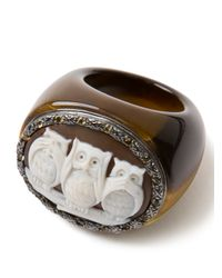 Amedeo Brown Three Owl Citrine Ring