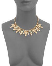 Saks Fifth Avenue - Metallic Metal Stone Bib Necklace - Lyst