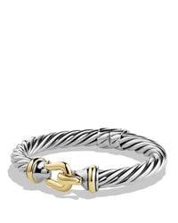 David Yurman - Metallic Buckle Cable Bracelet With Gold - Lyst