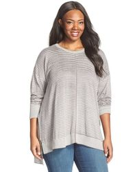 Sejour - Gray Stripe Cotton Pullover - Lyst