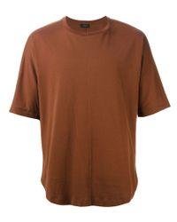 JOSEPH - Brown Curved Hem T-shirt for Men - Lyst
