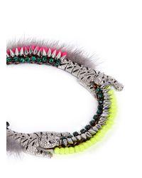 Venna | Multicolor Crystal Pavé Tiger Fur Trim Spike Necklace | Lyst